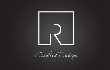 R Square Frame Letter Logo Design with Black and White Colors.