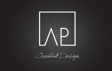 AP Square Frame Letter Logo Design with Black and White Colors.