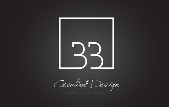 BB Square Frame Letter Logo Design with Black and White Colors.