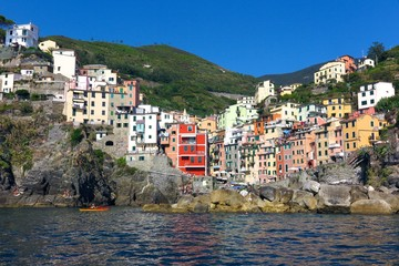 Riomaggiore harbor with colorful buildings on Italy's Cinque Terre coast
