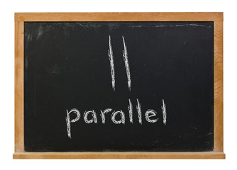 Parallel lines written in white chalk on a black chalkboard isolated on white