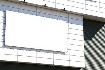 blank mockup outdoor advertising with copy space on the wall of the mall building