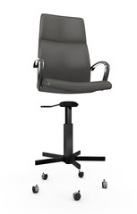 Rear view boss chair isolated on white. 3D illustration In assembly, disassembly