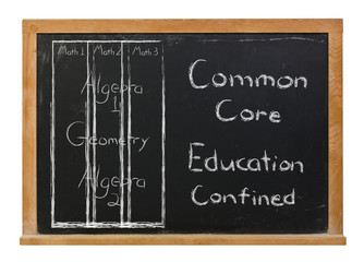 Common core math class structure written in white chalk on a black chalkboard isolated on white