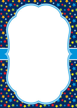 Vector Card Template with a White Frame on Stars Background.