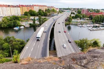 In de dag Stockholm Highway traffic on Stockholm motorway