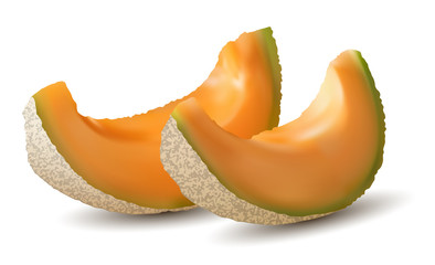 3D slices of melon, summer concept