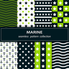 Set.Collection seamless pattern in green, blue and white.