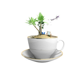 Island in a cup of coffee Concept of travel 3d render on white no shadow