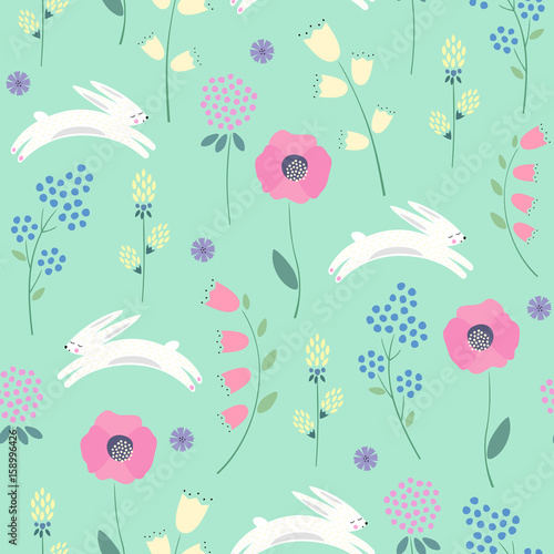 Easter Bunny With Spring Flowers Seamless Pattern On Green