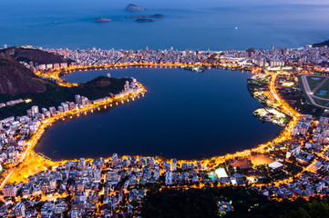 Wall Mural - View of Rodrigo de Freitas Lagoon at Night From the Corcovado Mountain, in Rio de Janeiro, Brazil