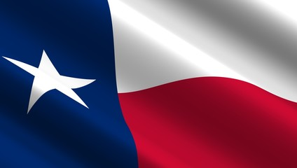 Waving flag of Texas state. 3D illustration.