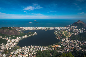 Aerial View of Rodrigo de Freitas Lagoon From the Corcovado Mountain in Rio de Janeiro, Brazil