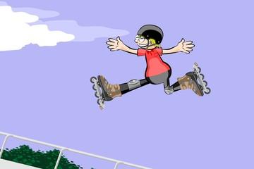 Rollerblader boy jumping in the skate park