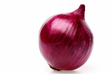 Onion in purple colour with its tail isolated on white