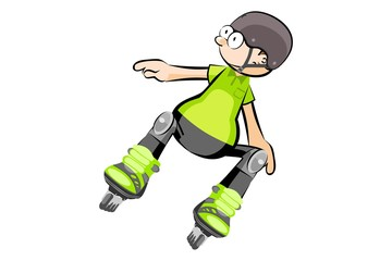 Rollerblader boy isolated on white - Cartoon style