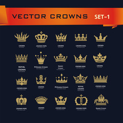 Vector collection of creative king, queen, princess, pope crowns symbols or logo elements