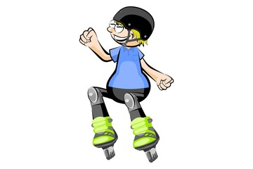 Rollerblader boy isolated on white