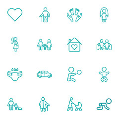 Set Of 16 Family Outline Icons Set.Collection Of Diaper, Playing, Skipping Rope And Other Elements.