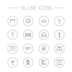 Set Of 16 Decor Outline Icons Set.Collection Of Bar Stool, Table, Chair And Other Elements.