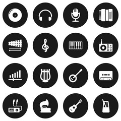Set Of 16 Song Icons Set.Collection Of Audio Device, Knob, Rhythm Motion And Other Elements.