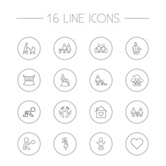 Set Of 16 Relatives Outline Icons Set.Collection Of Boy, Lovers, Grangmother And Other Elements.