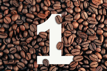 number one on coffee bean background concept