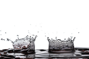 two water splash isolate white background