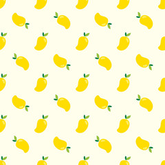 Seamless mango pattern. Yellow Mangoes background  for print, textile, wrapping, wallpapers, web backgroung, cover, banner, flyer.