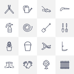 Set Of 16 Horticulture Outline Icons Set.Collection Of Bailer, Grass-Cutter, Palisade And Other Elements.