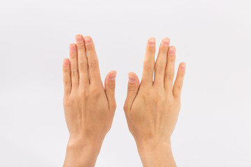 Female hands on a white background. Gestures