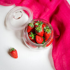 Fresh and ripe strawberries Square image Summer food concept