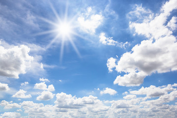 Sun with blue sky nature background.