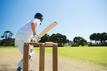 Side view of cricket player batting while playing on field