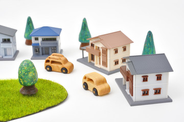 Miniature townscape - Wooden cars and Miniature houses