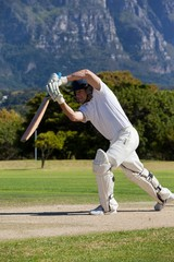Cricket player playing on field during sunny day