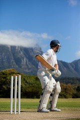 Cricket player practicing against blue sky