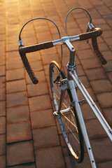 Leather handlebar in a vintage bicycle on the street