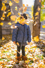 Toddler girl playing with yellow leaves in autumn park