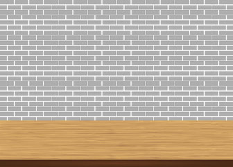 Empty wood table top on brick gray wall background