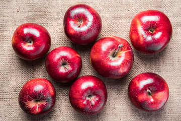 Top view of eight colorful bright shiny red apples on brown sacking material