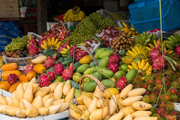 Fruits on display at a small market in Thailand
