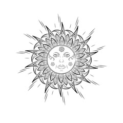 Engraving of the sun