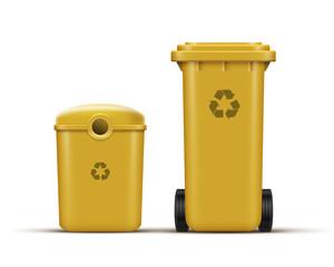 Yellow recycle bins