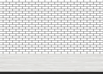 Empty wood table top on brick white wall background