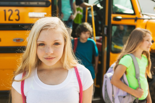 School Bus Pretty Female Student After Getting Off Of Bus