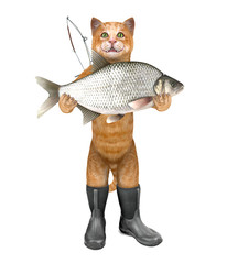 Cat - fisher in boots holds a huge fish. 3D illustration.