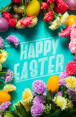 """""""Happy Easter"""" text surrounded with bunch of flower"""
