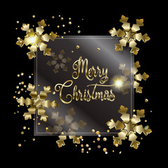 Happy Merry Christmas and New Year golden frame with gold confetti and snowflakes on black background. Luxury design template. Vector illustration