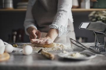 Woman Making Pasta Dough